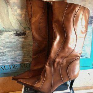 Cognac Leather Boots - Size 39 NWT Aldo